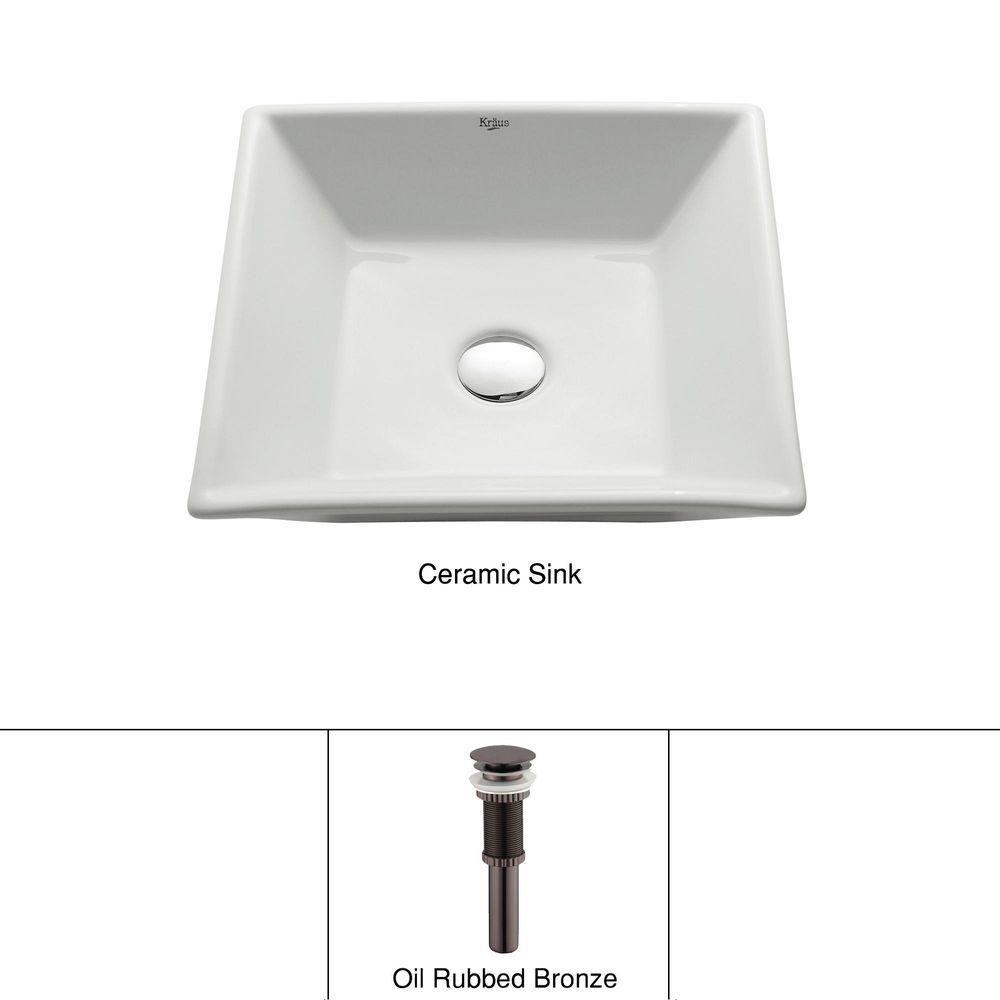 Lavabo carré blanc en céramique avec drain escamotable, bronze huilé