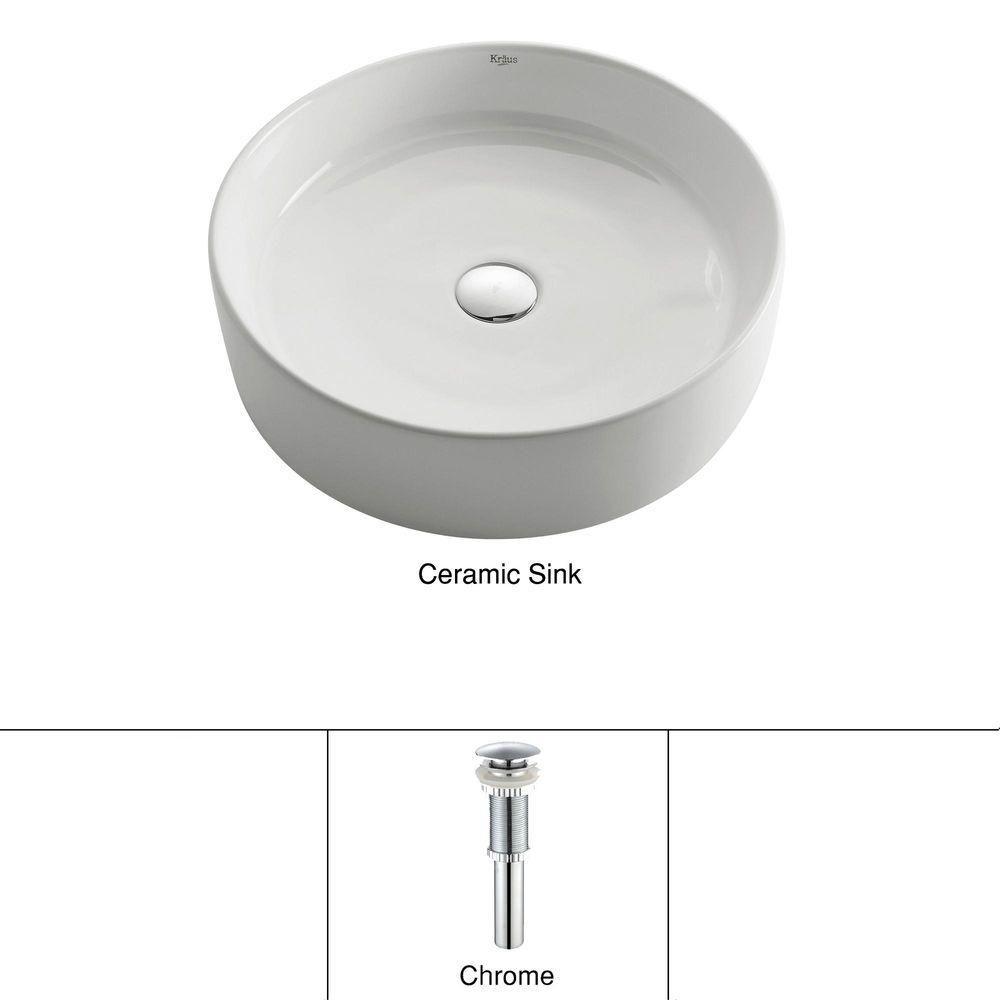 Lavabo rond blanc en céramique avec drain escamotable, chrome
