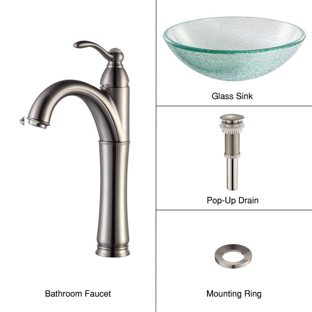 Glass Vessel Sink in Mosaic with Riviera Faucet in Satin Nickel