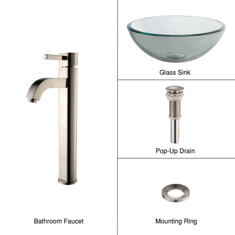 14-inch Clear Glass Vessel Sink with Ramus Faucet in Satin Nickel
