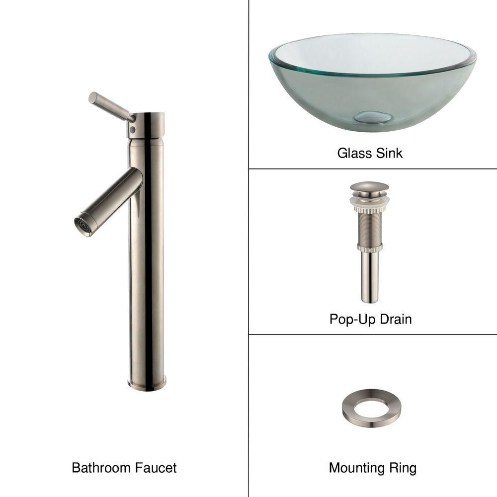 14-inch Clear Glass Vessel Sink with Sheven Faucet in Satin Nickel