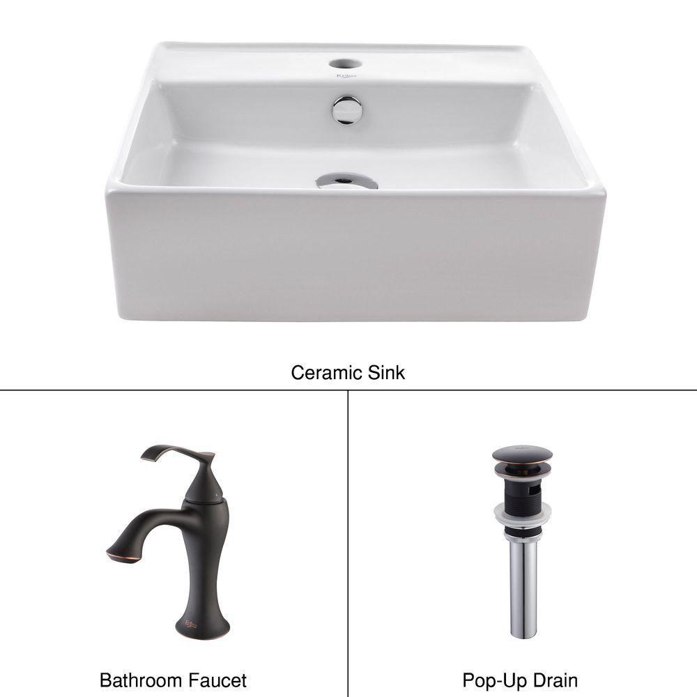 Square Ceramic Sink in White with Ventus Basin Faucet in Oil-Rubbed Bronze