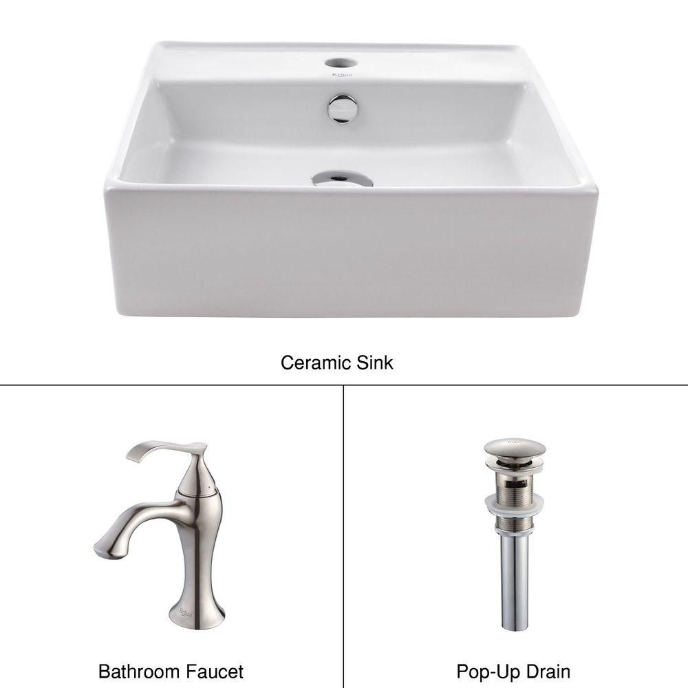 Square Ceramic Sink in White with Ventus Basin Faucet in Brushed Nickel