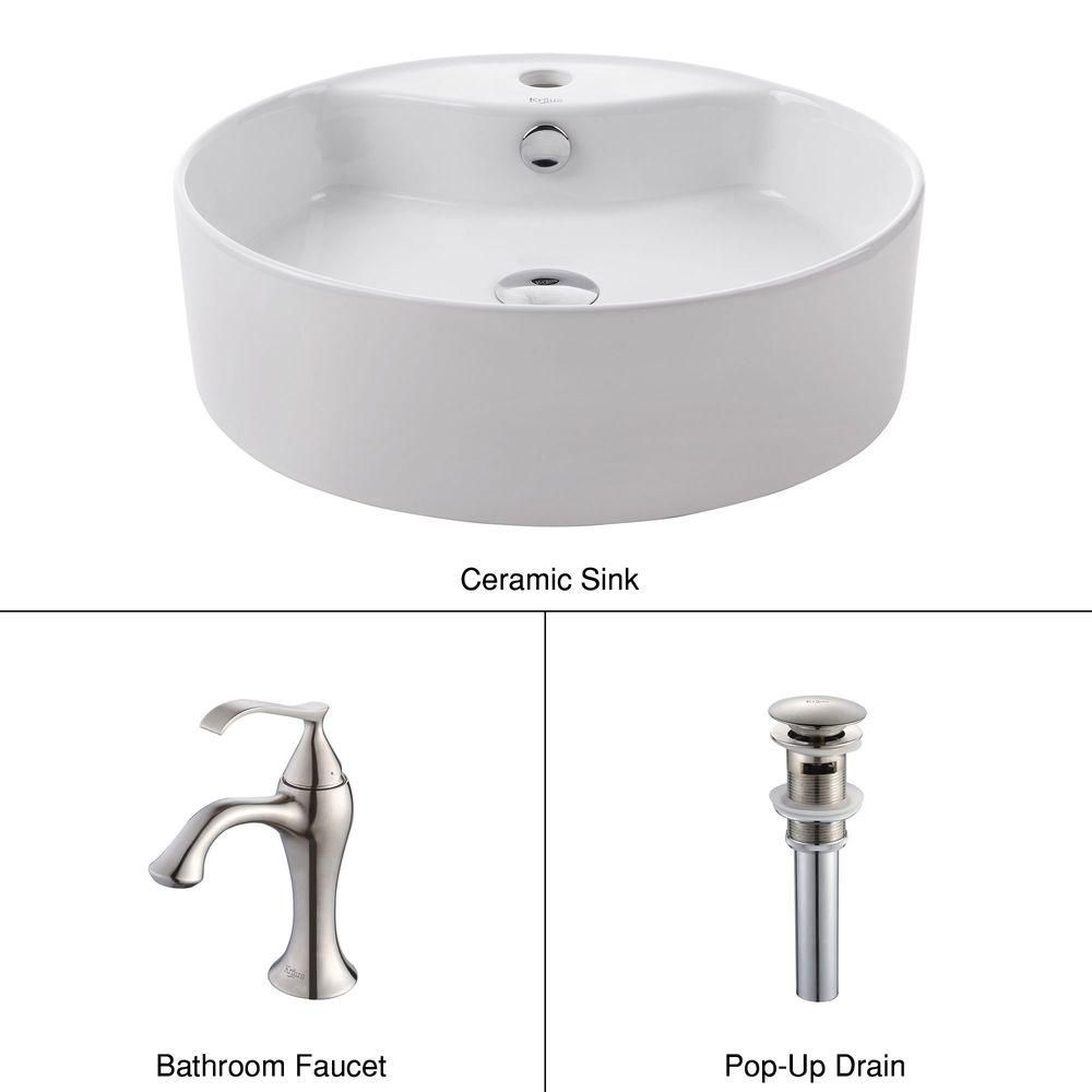 Round Ceramic Sink in White with Ventus Basin Faucet in Brushed Nickel