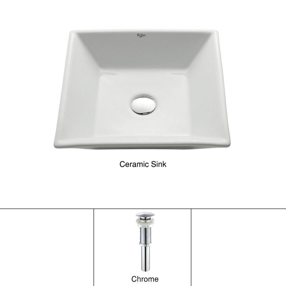 Square Ceramic Bathroom Sink in White with Pop Up Drain in Chrome