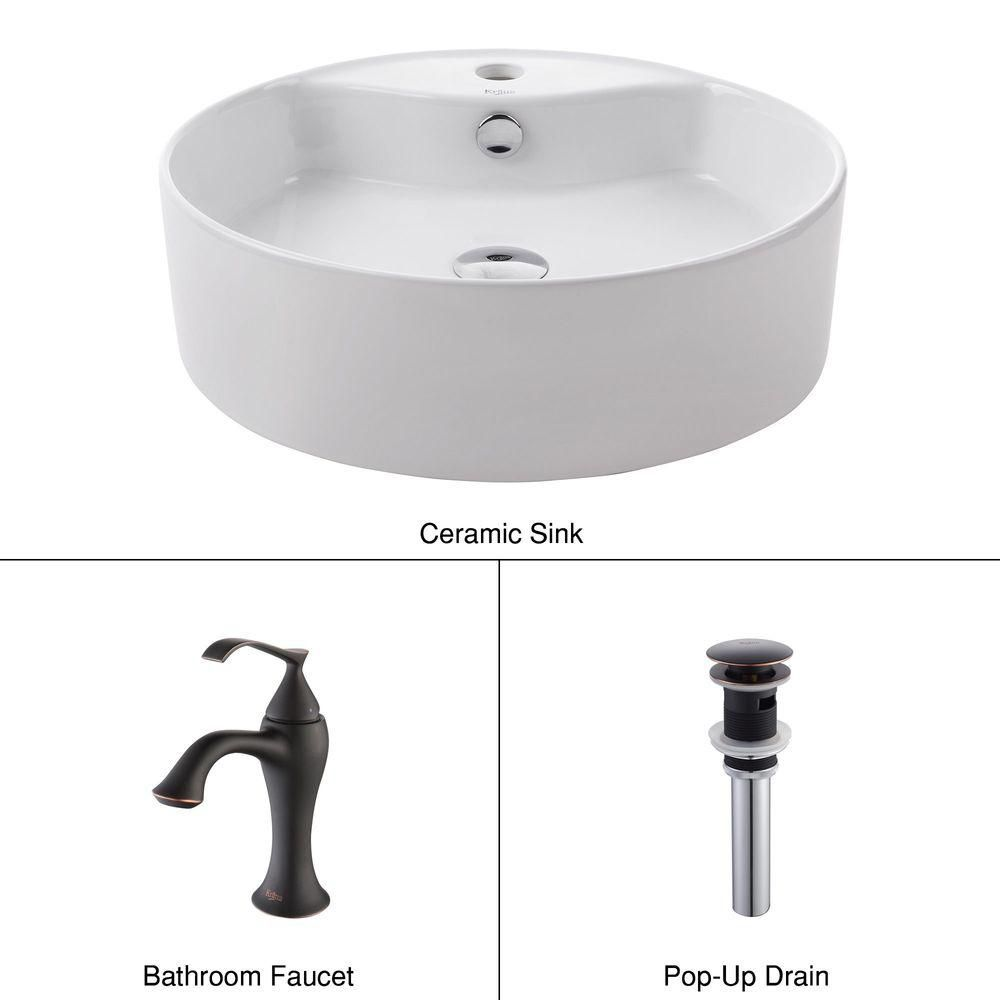 Round Ceramic Sink in White with Ventus Basin Faucet in Oil-Rubbed Bronze