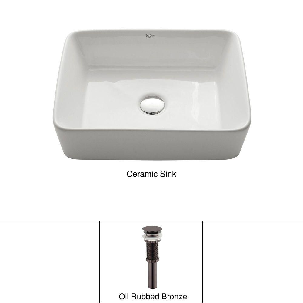 Rectangular Ceramic Vessel Sink in White with Pop-Up Drain in Oil-Rubbed Bronze
