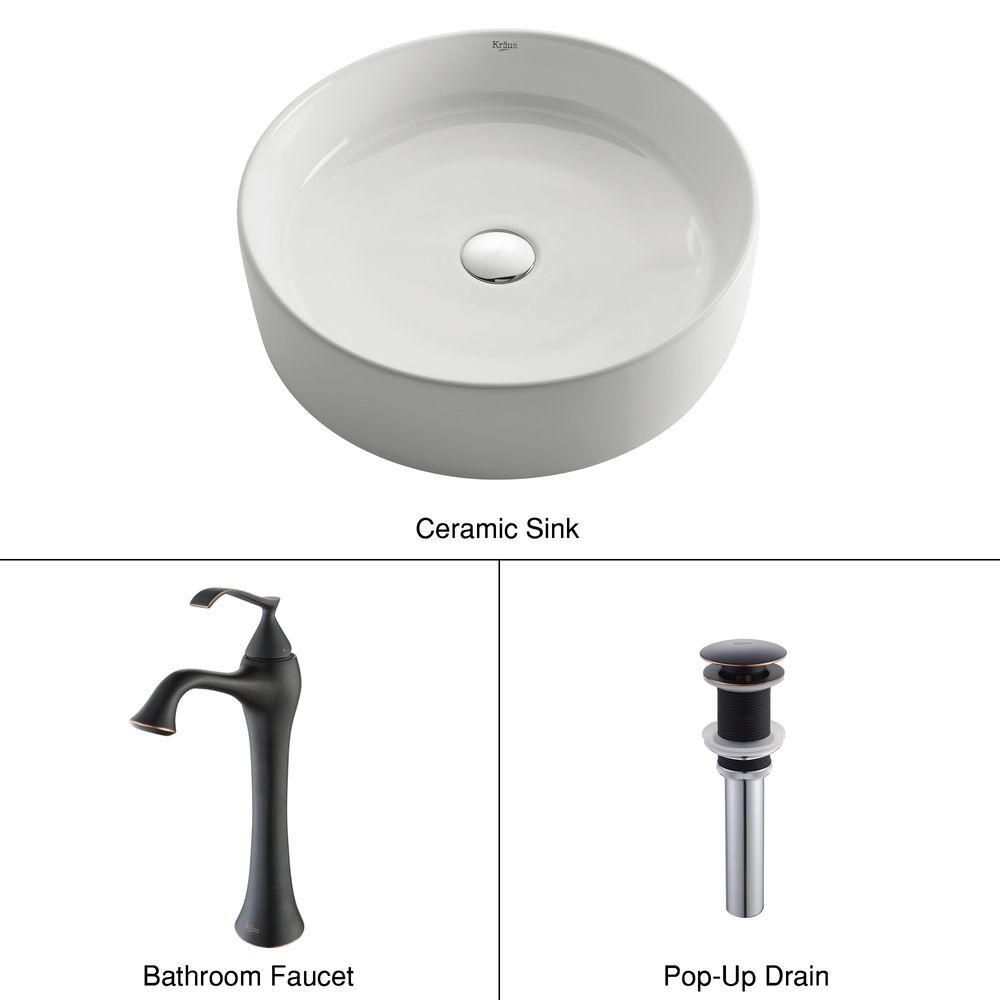 Round Ceramic Sink in White with Ventus Faucet in Oil-Rubbed Bronze