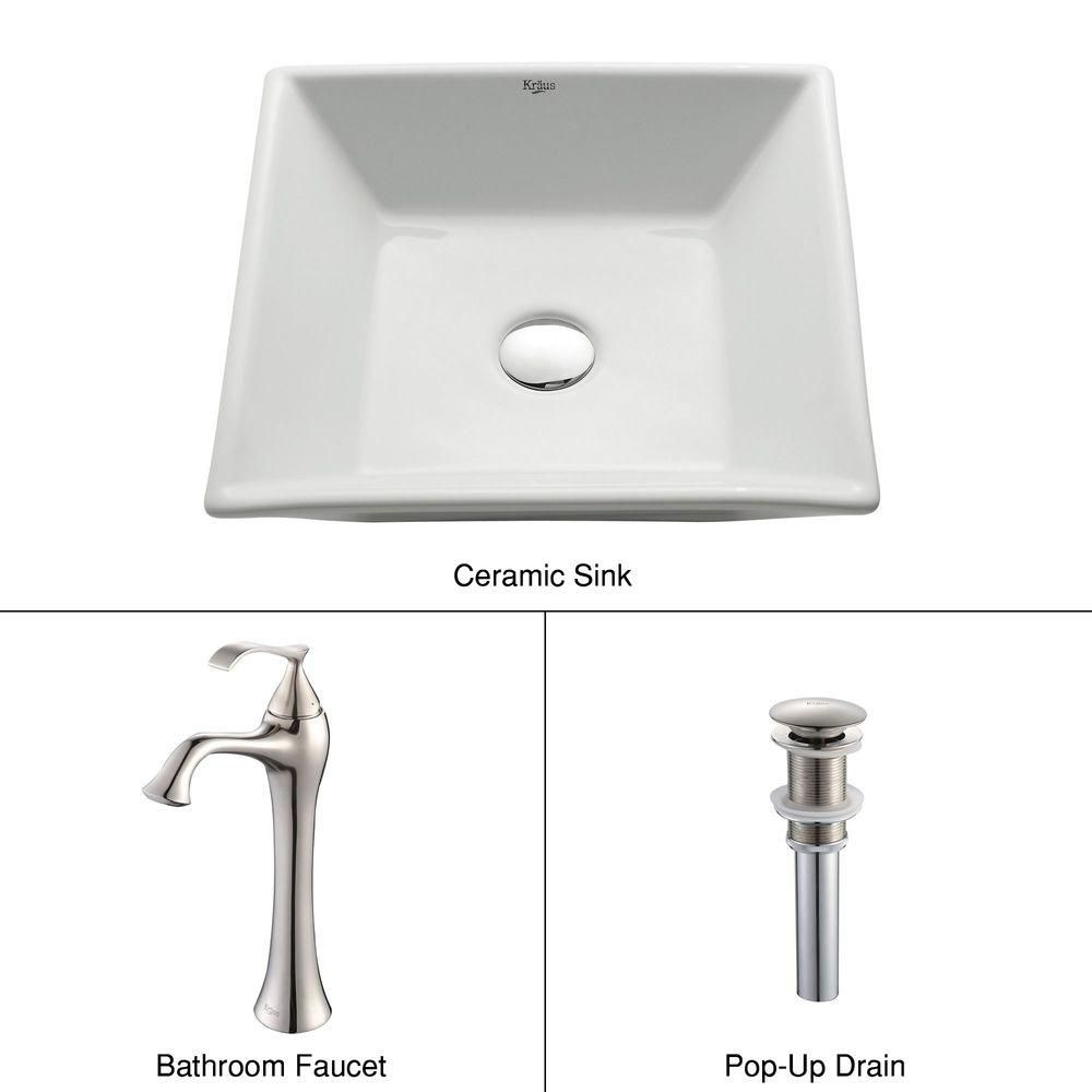 Lavabo carré blanc en céramique et robinet Ventus, nickel brossé