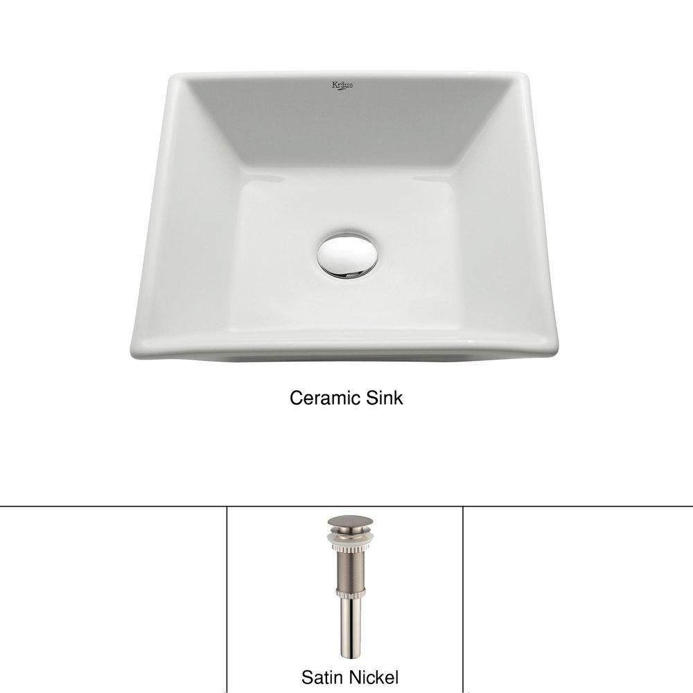 Lavabo carré blanc en céramique avec drain escamotable, nickel satiné