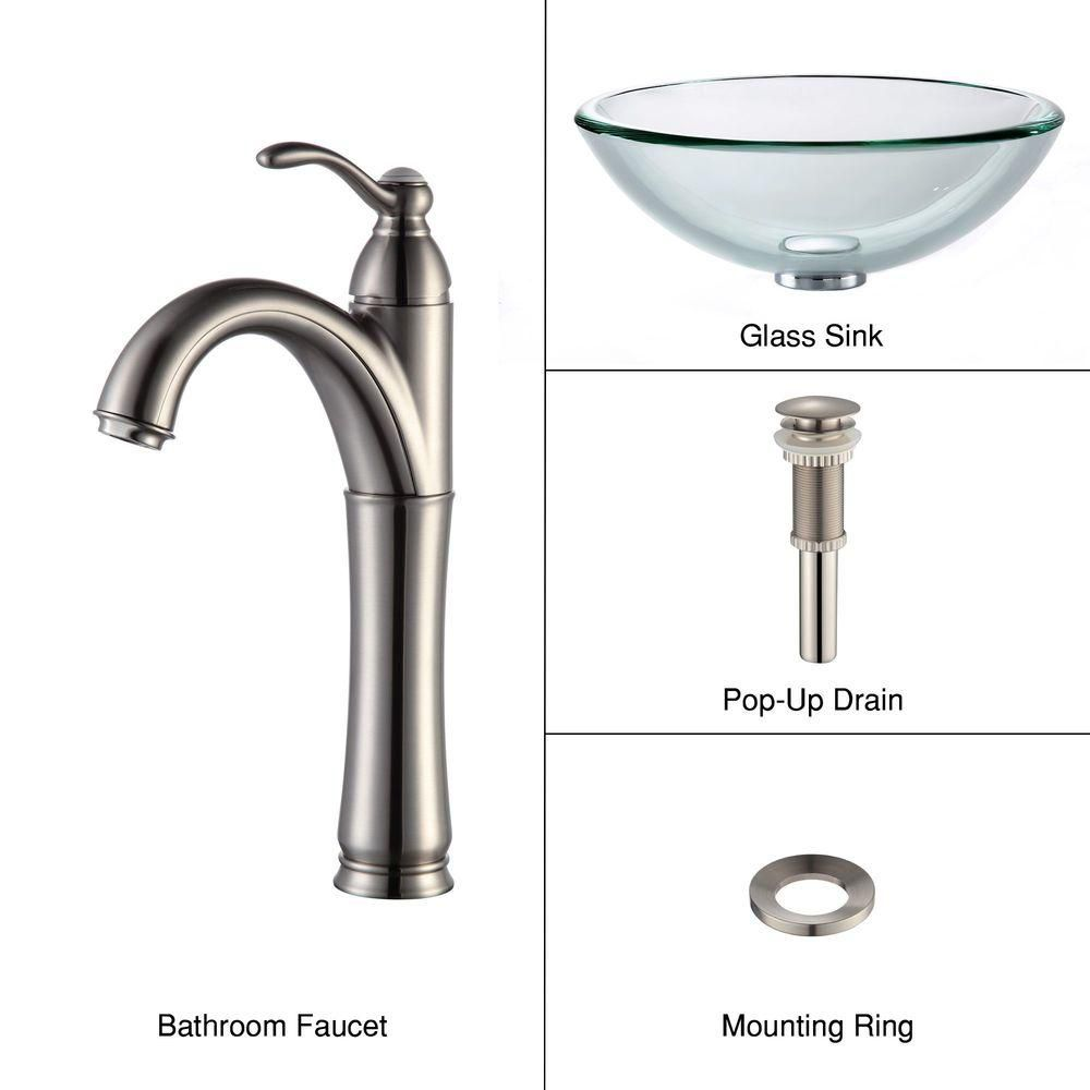 Clear Glass Vessel Sink with Riviera Faucet in Satin Nickel