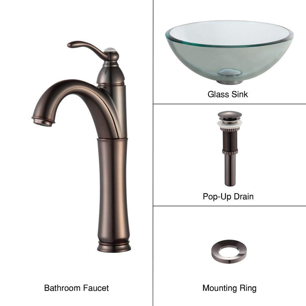 Lavabo-vasque en verre transparent de 35,6 cm (14 po) et robinet Riviera, bronze huilé