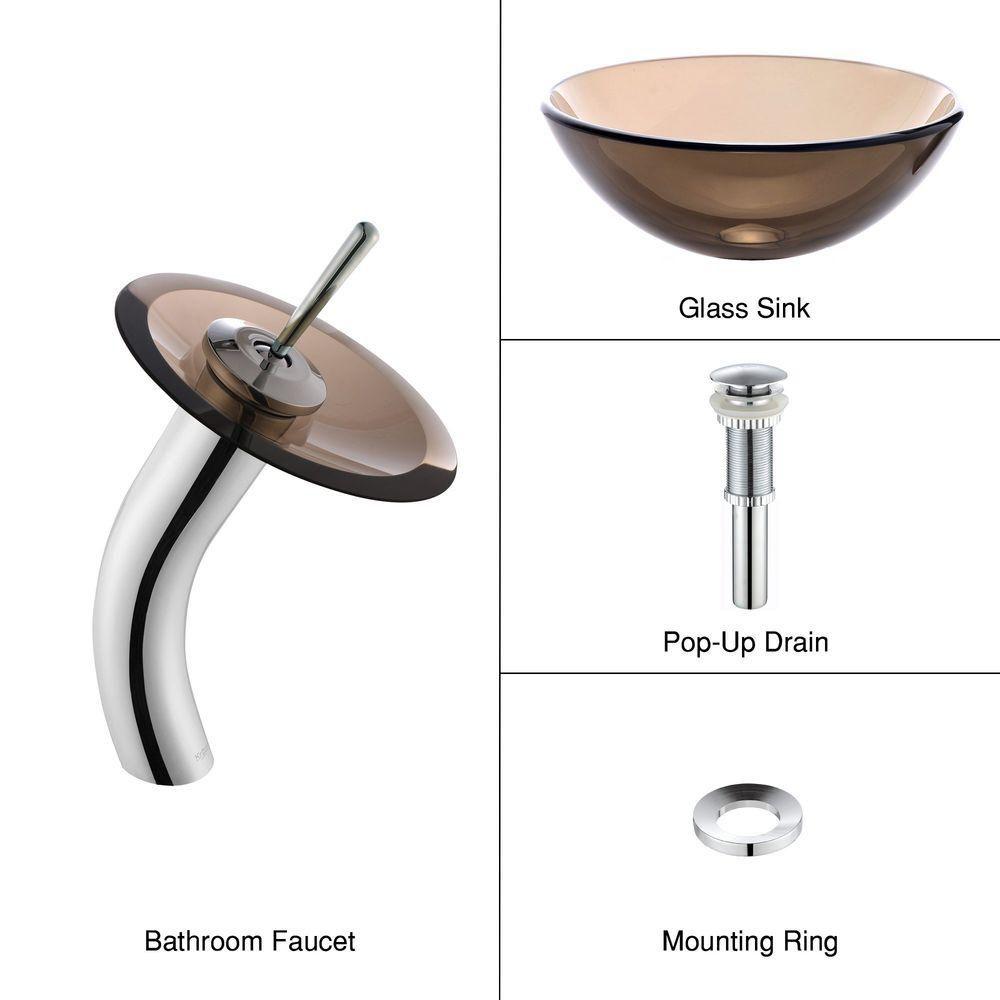 Lavabo-vasque en verre brun transparent de 35,6 cm (14 po) et robinet à cascade, chrome