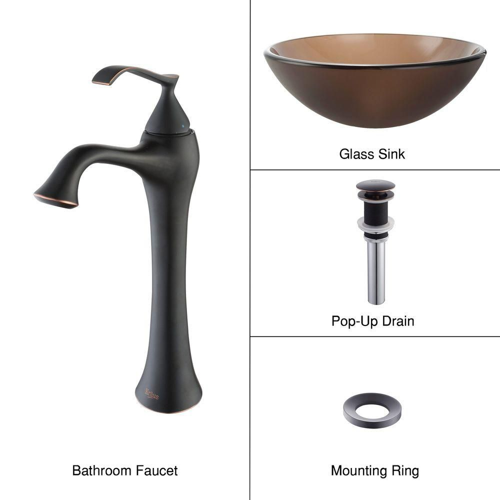 Frosted Glass Vessel Sink in Brown with Ventus Faucet in Oil-Rubbed Bronze