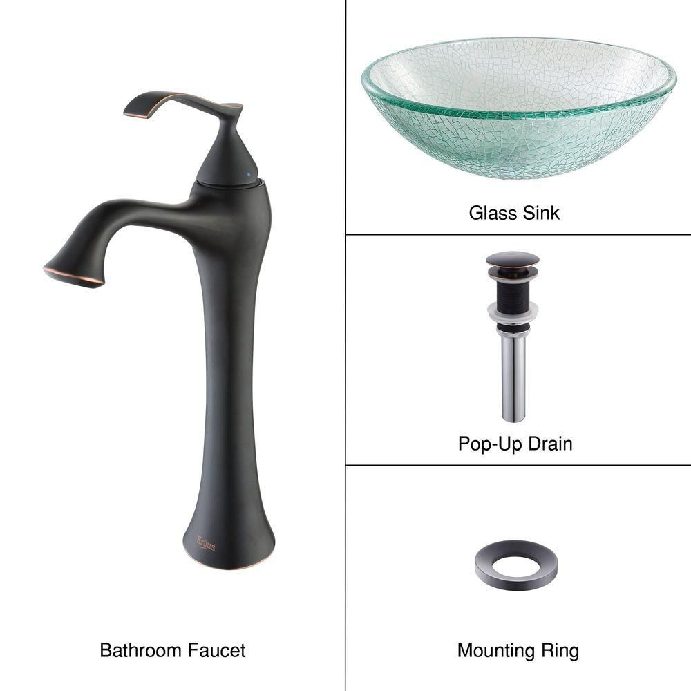 Glass Vessel Sink in Mosaic with Ventus Faucet in Oil-Rubbed Bronze
