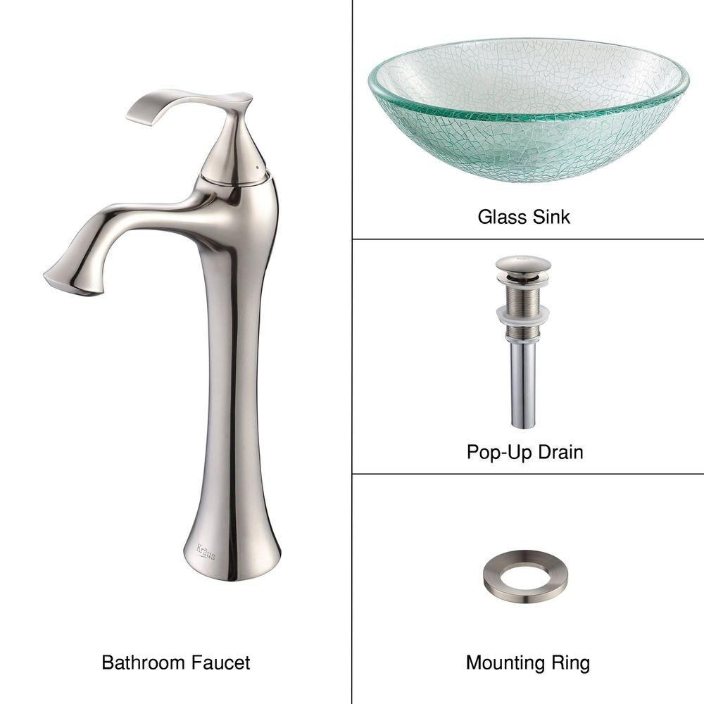 Glass Vessel Sink in Mosaic with Ventus Faucet in Brushed Nickel