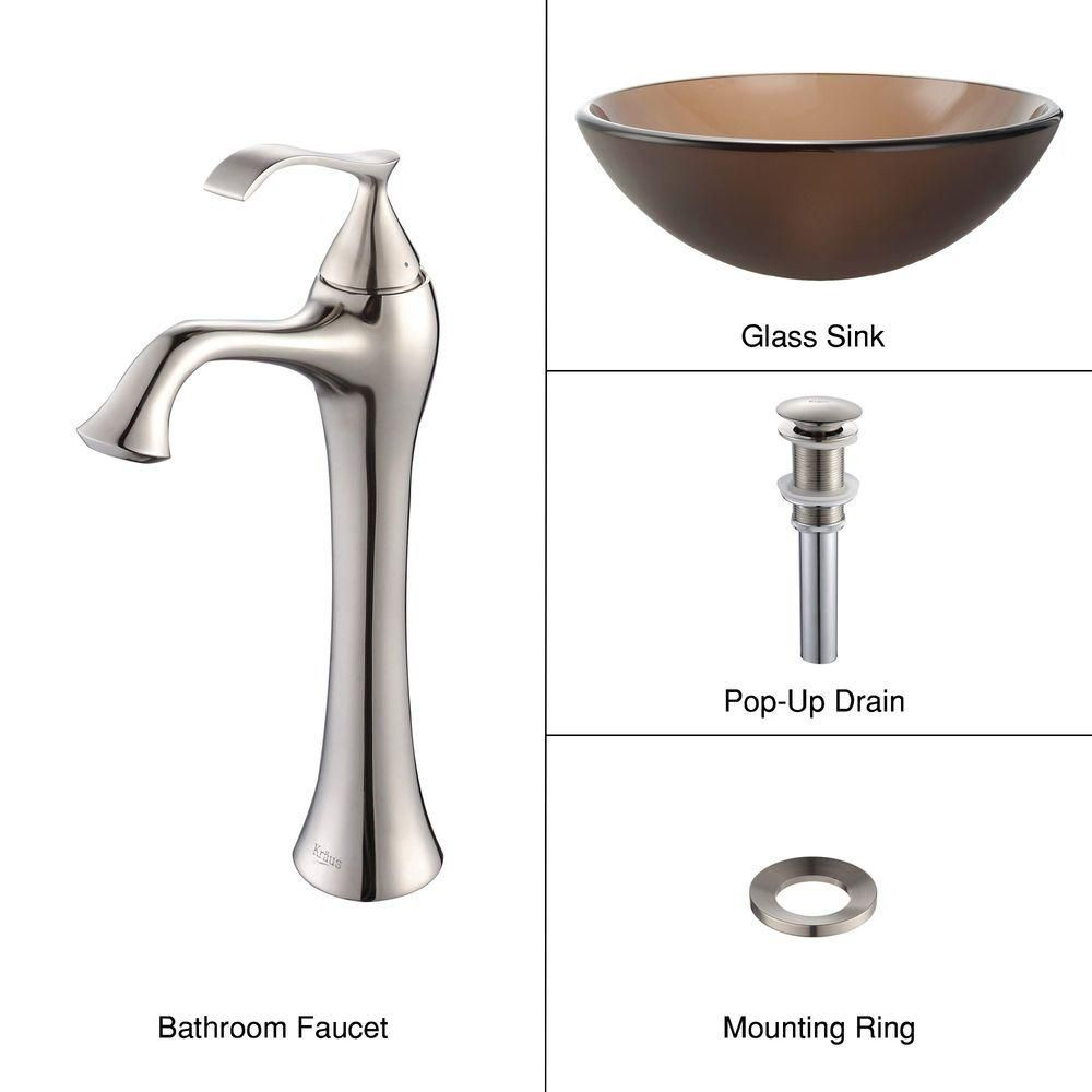 Frosted Glass Vessel Sink in Brown with Ventus Faucet in Brushed Nickel