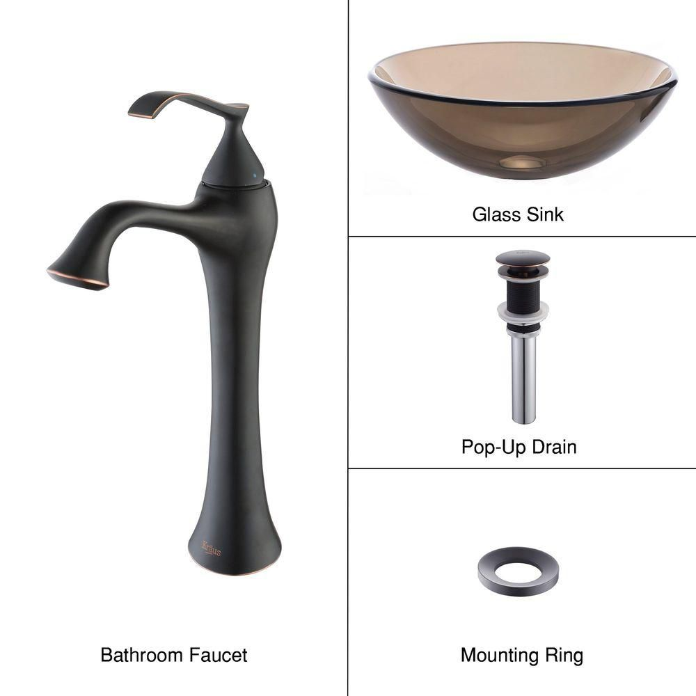Clear Glass Vessel Sink in Brown with Ventus Faucet in Oil-Rubbed Bronze