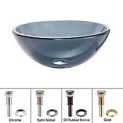Kraus Lavabo-vasque en verre noir transparent de 35,6 cm (14 po) avec drain escamotable et anneau de montage, nickel satiné