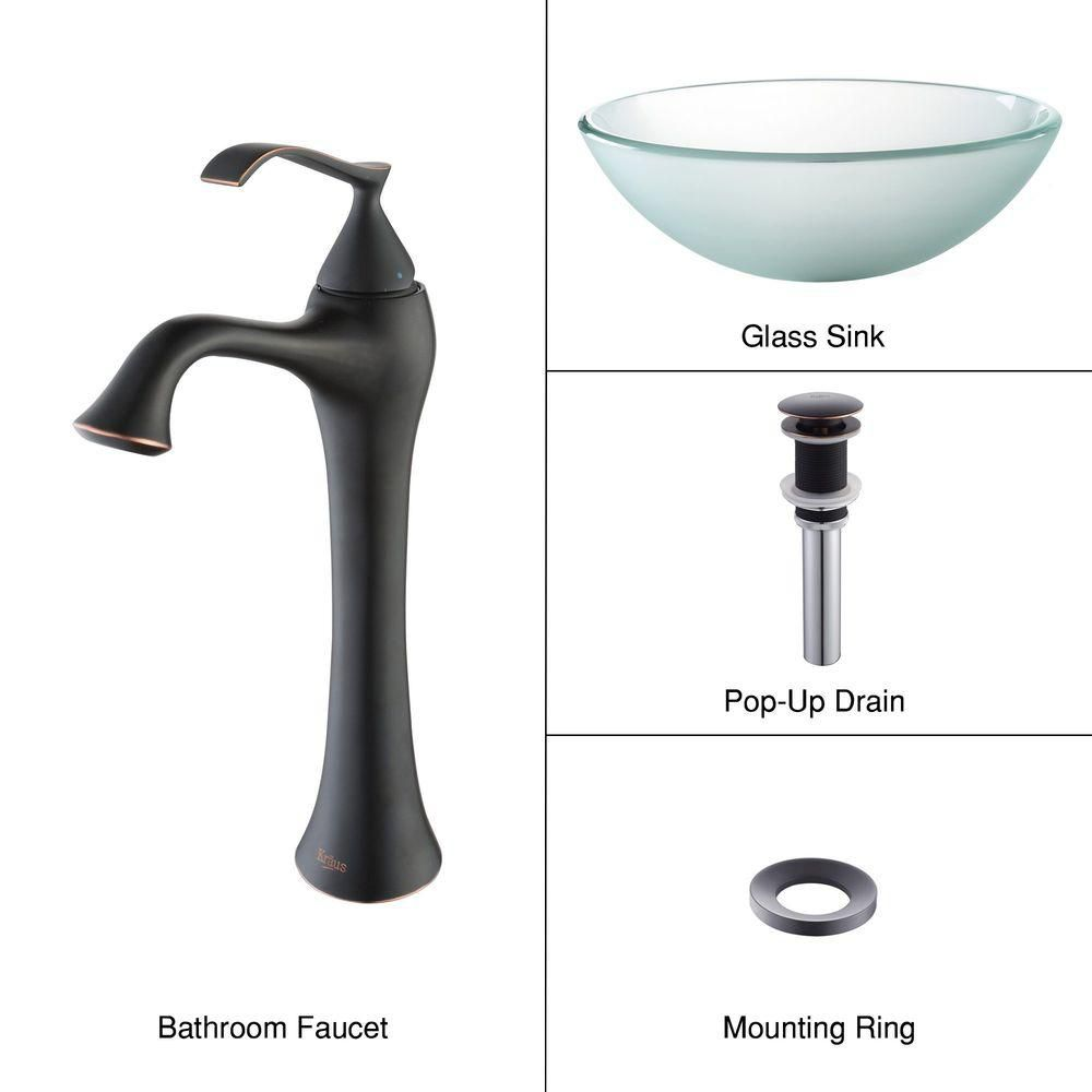 Frosted Glass Vessel Sink with Ventus Faucet in Oil-Rubbed Bronze