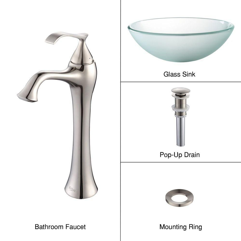 Frosted Glass Vessel Sink with Ventus Faucet in Brushed Nickel