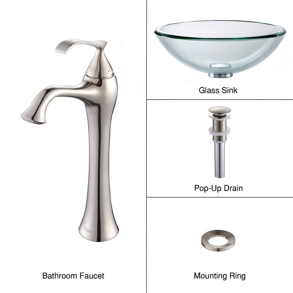 Clear Glass Vessel Sink with Ventus Faucet in Brushed Nickel