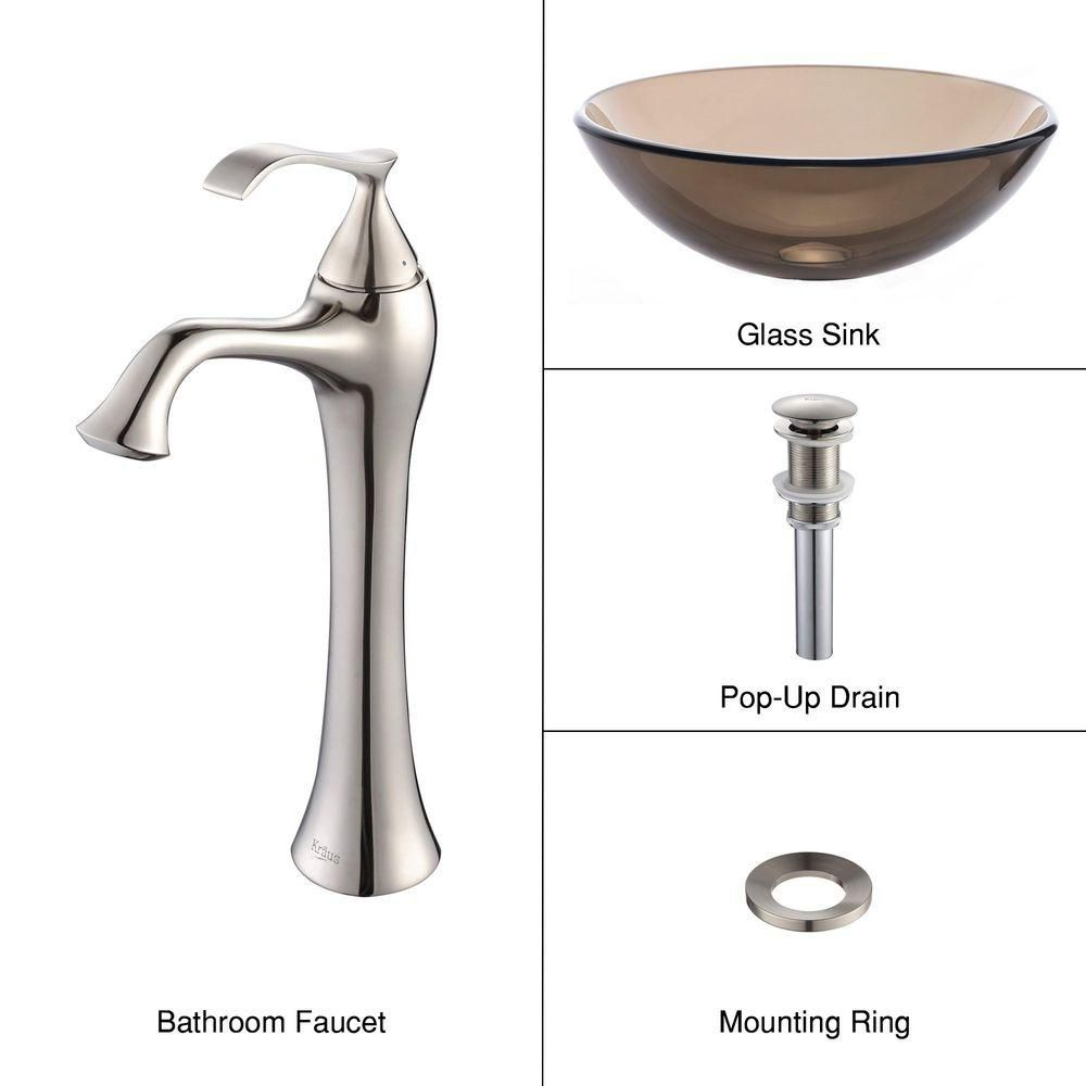 Clear Glass Vessel Sink in Brown with Ventus Faucet in Brushed Nickel