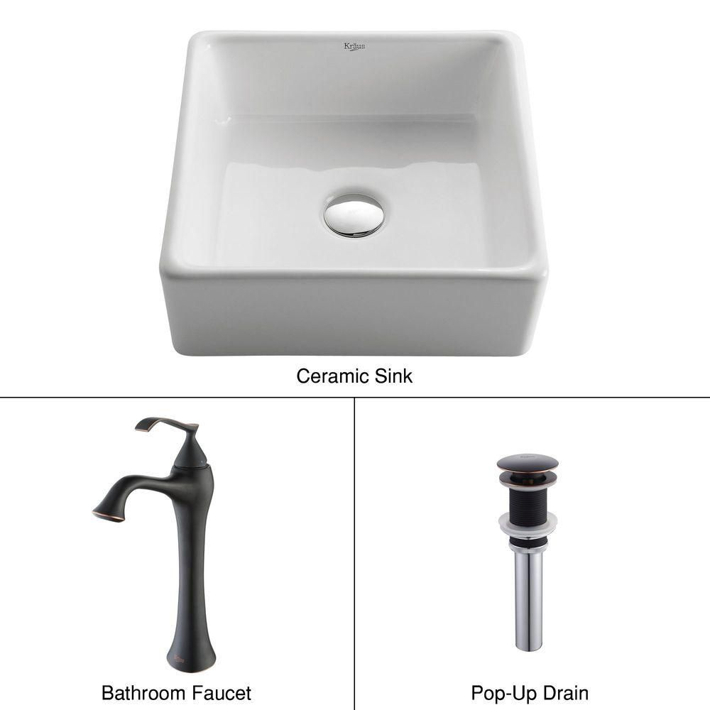 Square Ceramic Sink in White with Ventus Faucet in Oil-Rubbed Bronze