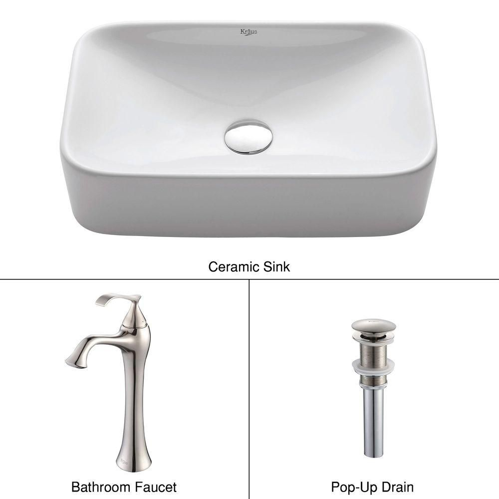 Rectangular Ceramic Vessel Sink in White with Ventus Faucet in Brushed Nickel