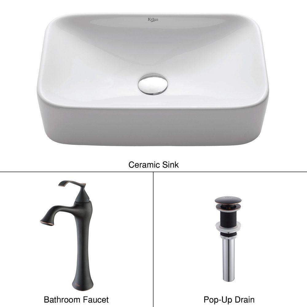 Rectangular Ceramic Vessel Sink in White with Ventus Faucet in Oil-Rubbed Bronze