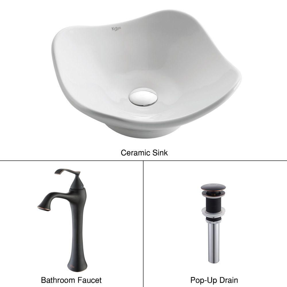 Tulip Ceramic Vessel Sink in White with Ventus Faucet in Oil-Rubbed Bronze