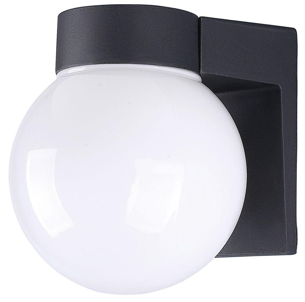 Amelia 1 Light Black Energy Star Wall Lantern, Opal Glass