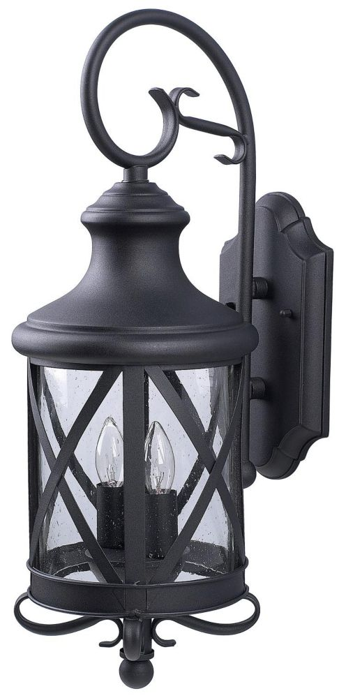 Mason 2 Light Black Wall Lantern, Seeded Glass
