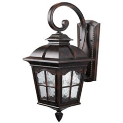 Canarm Ltd. Madison 1 Light Rustic Bronze Wall Lantern, Watermark Glass