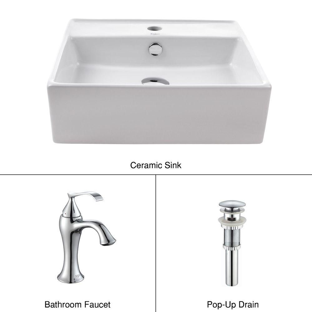Square Ceramic Sink in White with Ventus Basin Faucet in Chrome