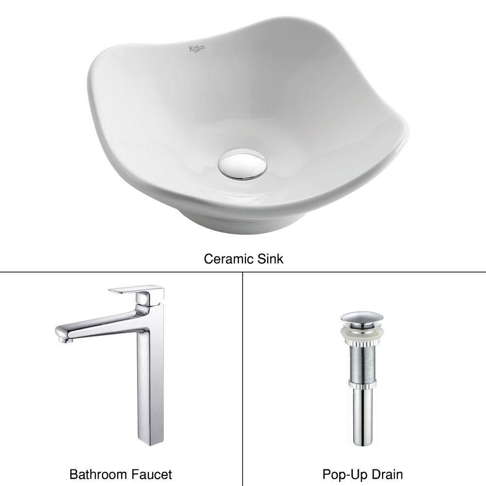 Tulip Ceramic Vessel Sink in White with Virtus Faucet in Chrome