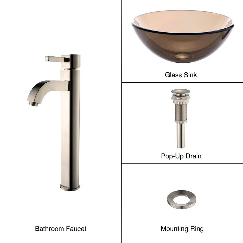 14-inch Clear Glass Vessel Sink in Brown with Ramus Faucet in Satin Nickel