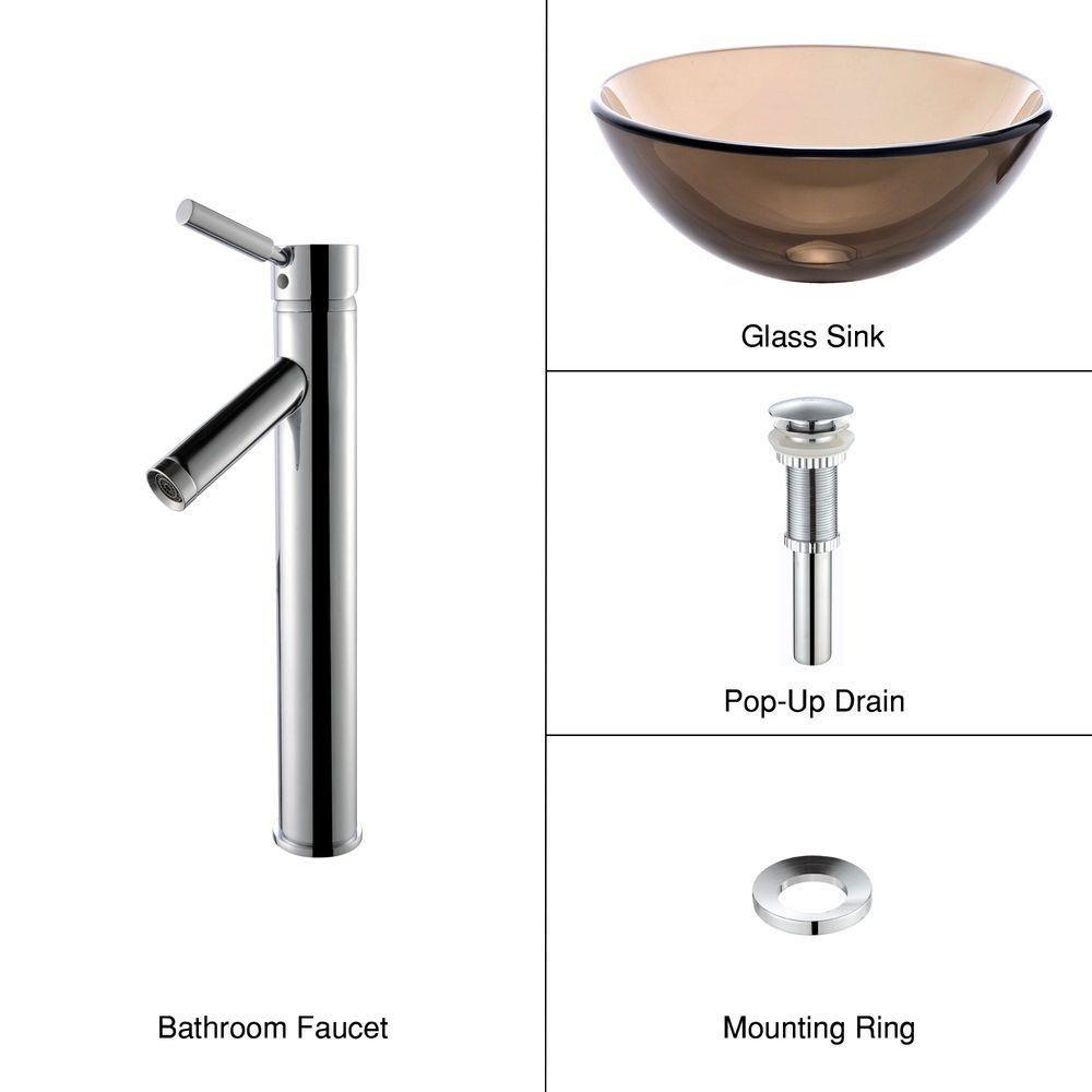 Lavabo-vasque en verre brun transparent de 35,6 cm (14 po) et robinet Sheven, chrome