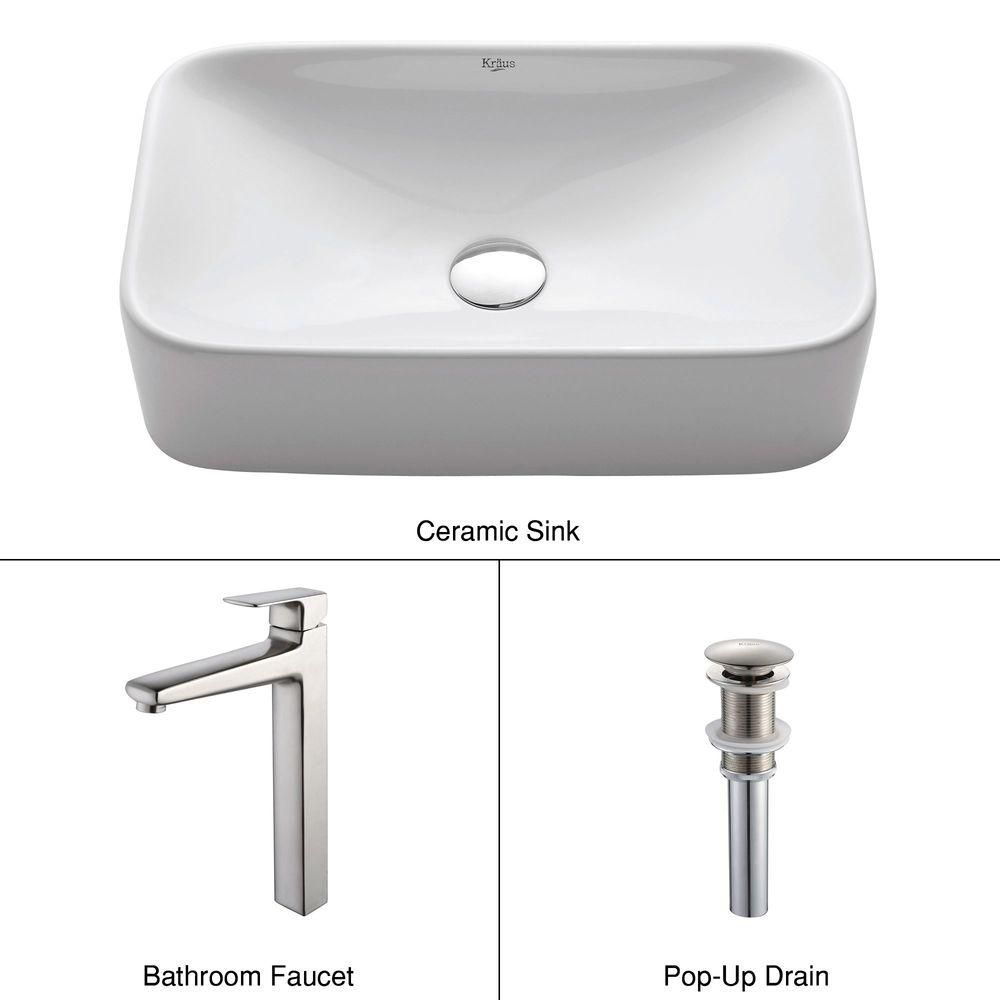 White Rectangular Ceramic Sink and Virtus Faucet Brushed Nickel C-KCV-122-15500BN Canada Discount