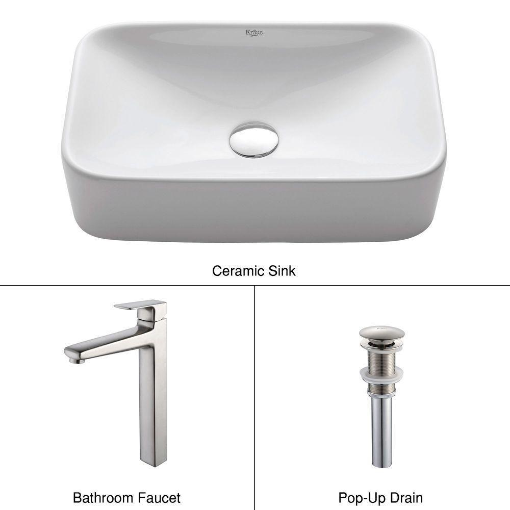 Rectangular Ceramic Vessel Sink in White with Virtus Faucet in Brushed Nickel