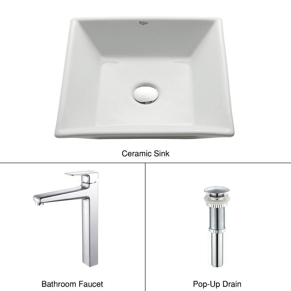 Square Ceramic Sink in White with Virtus Faucet in Chrome