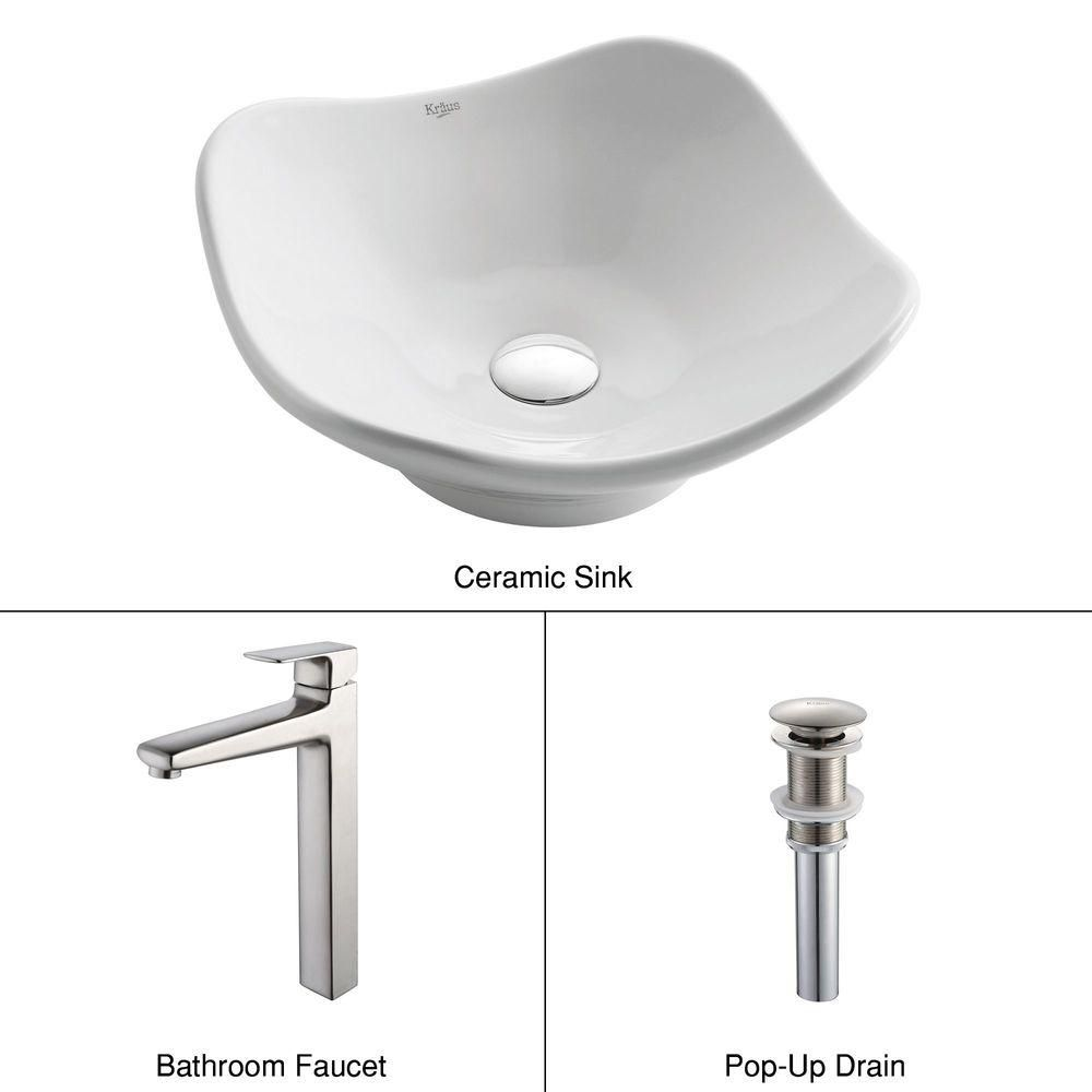 Tulip Ceramic Vessel Sink in White with Virtus Faucet in Brushed Nickel