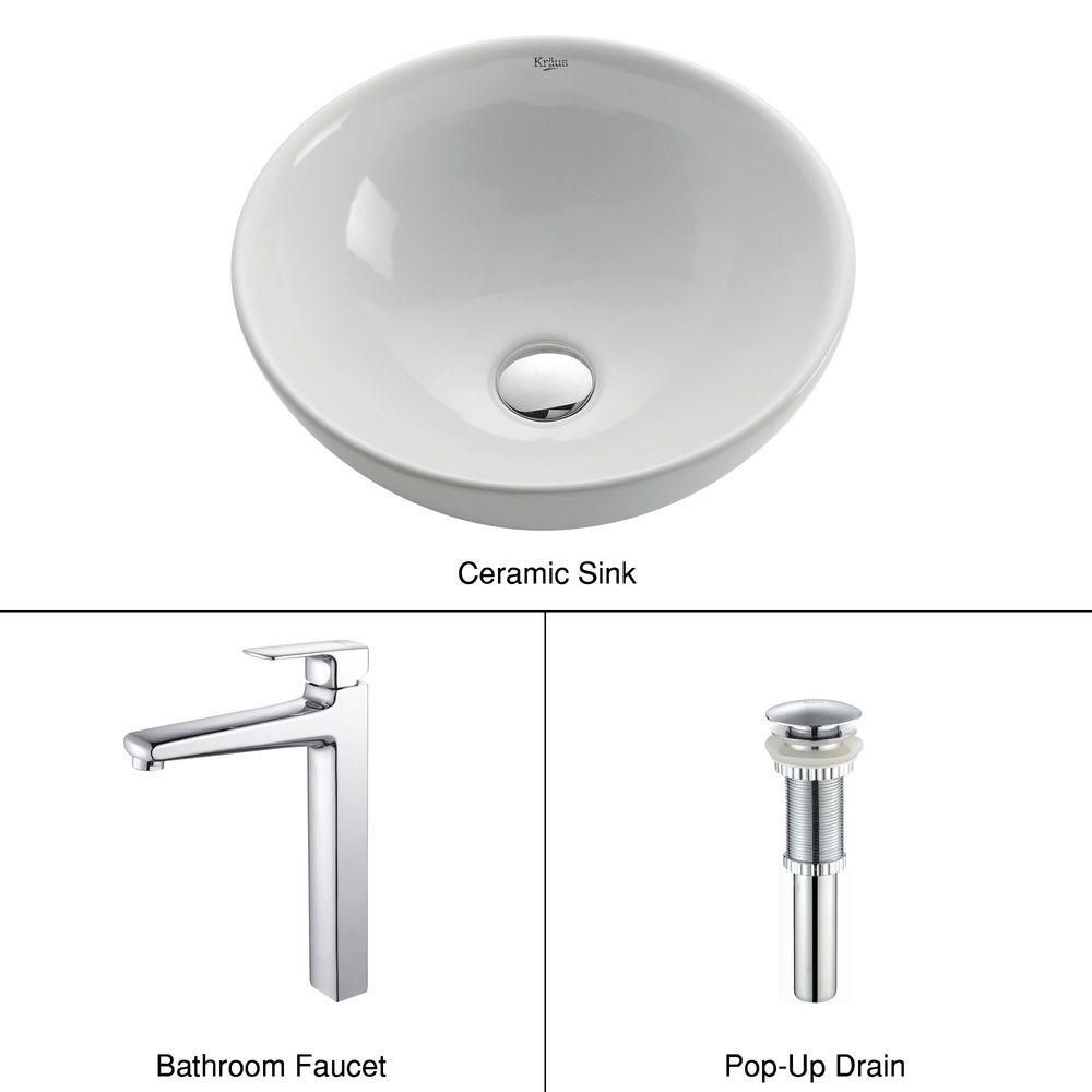 Round Ceramic Sink in White with Virtus Faucet in Chrome