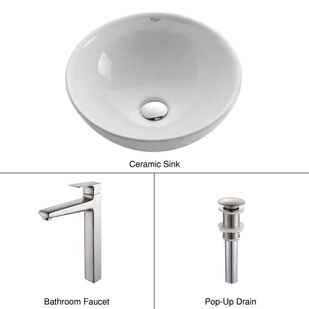 Round Ceramic Sink in White with Virtus Faucet in Brushed Nickel