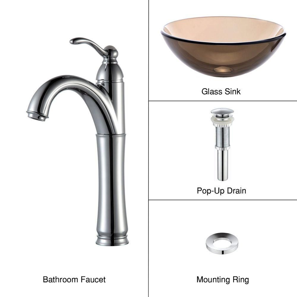 14-inch Clear Glass Vessel Sink in Brown with Riviera Faucet in Chrome