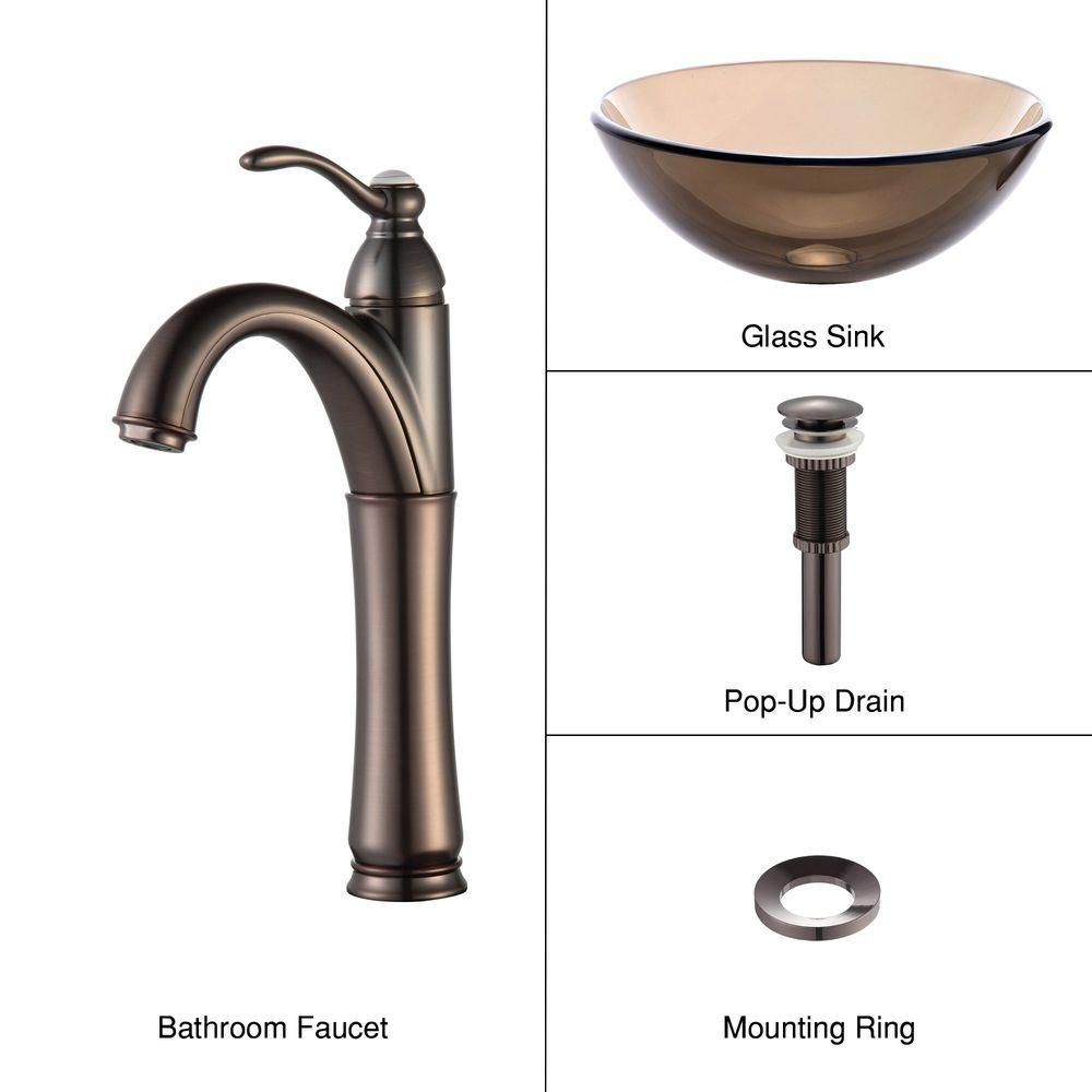 14-inch Clear Glass Vessel Sink in Brown with Riviera Faucet in Oil-Rubbed Bronze