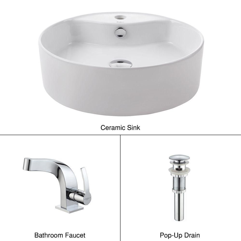 Round Ceramic Sink in White with Typhon Basin Faucet in Chrome