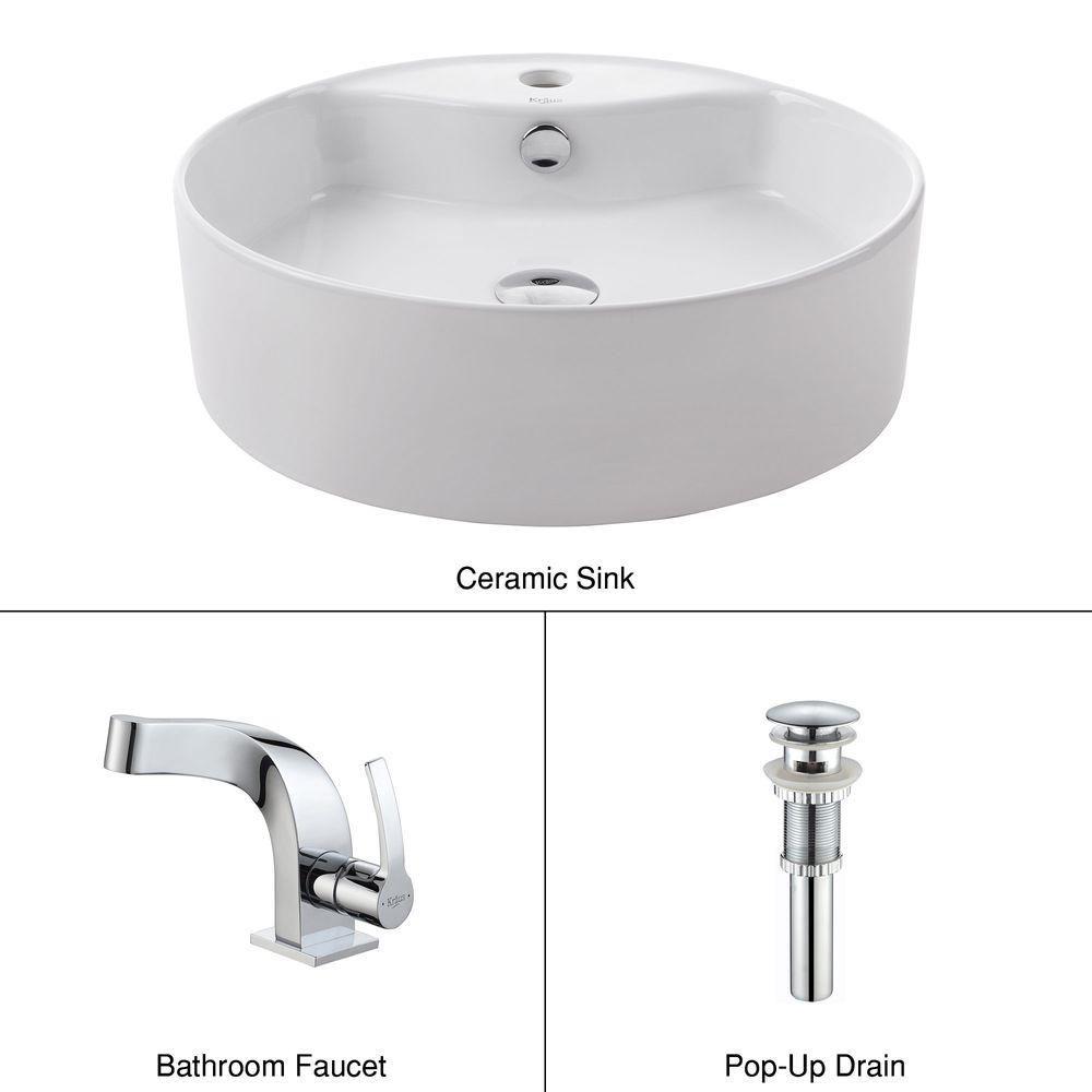 Lavabo rond blanc en céramique avec robinet de bassin Typhon, chrome