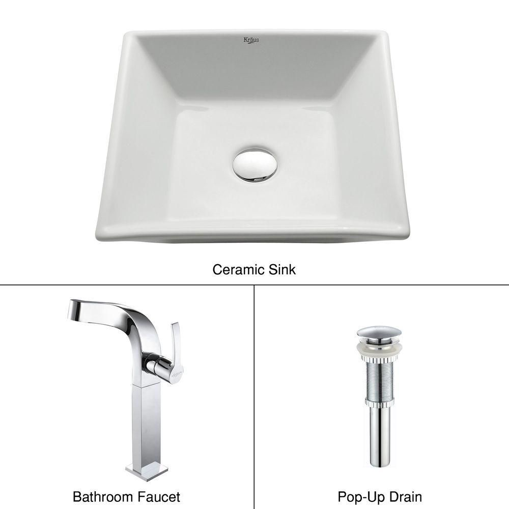 Square Ceramic Sink in White with Typhon Faucet in Chrome