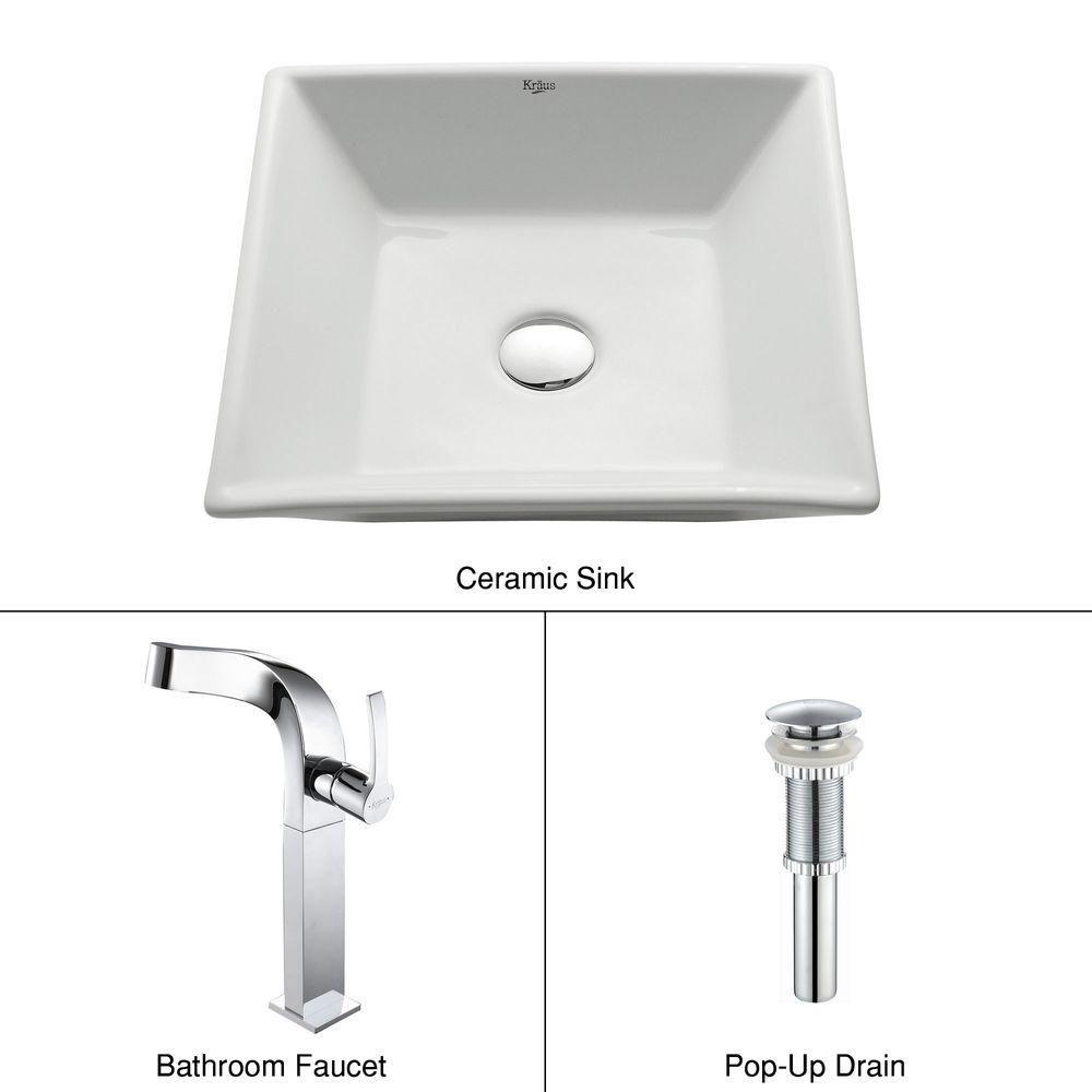 Lavabo carré blanc en céramique avec robinet Typhon, chrome